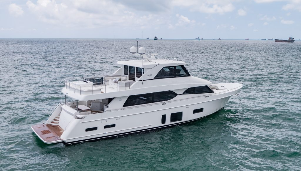 Sky high appeal for supremely social motor yacht