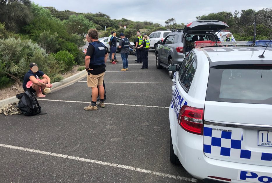 Car seized and 5 arrests at Cape Schank